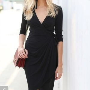 Maggy London Black Wrap Dress